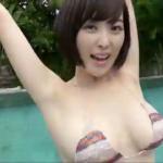忍野さら プールでビキニ姿でGカップバストを揺らせるアイドル